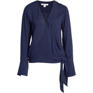 NEW Treasure and Bond Side Tie Wrap Blouse navy